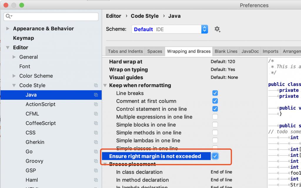 Intellij IDEA设置代码宽度插图2